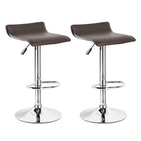 Belleze Set Of 2 Leather Modern Swivel Barstools