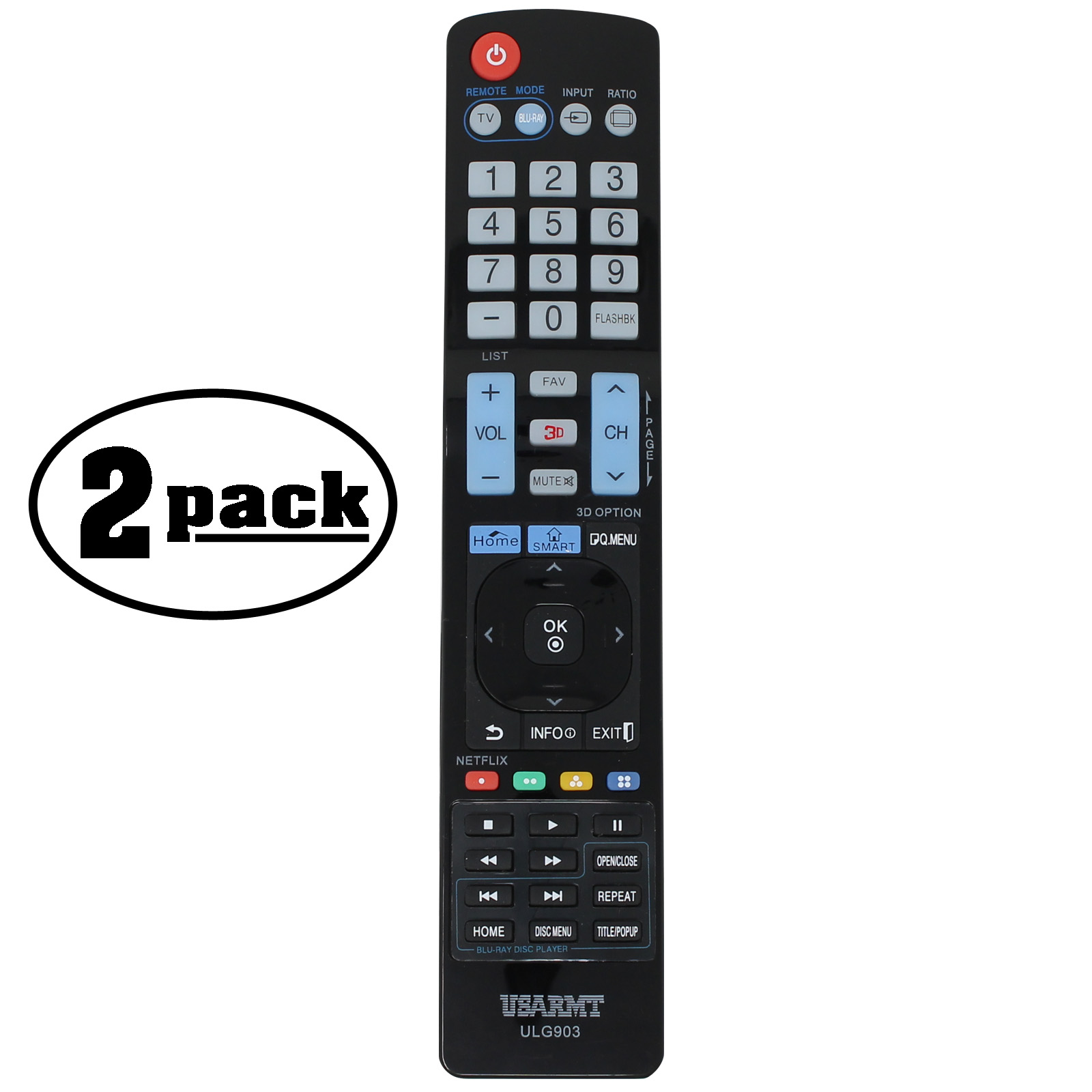 2-Pack Replacement 32LC5DCB TV Remote Control for LG TV - Compatible with AGF76692608 LG TV Remote Control - image 3 de 3
