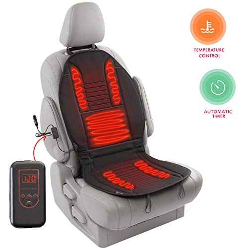 Zento Deals Car Heated Seat Cover Cushion Hot Warmer - 2-Piece Set 12V Heating Warmer Pad Hot Gray Cover Perfect for Cold Weather and Winter Driving- New Upgraded Version for 2019, Safer Nonflammable