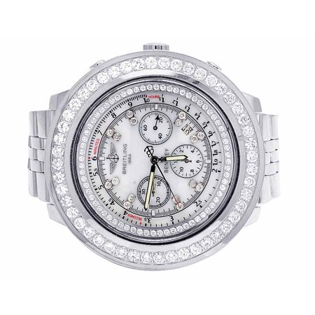 Breitling Mens Breitling Bentley A25362 48MM White Dial Diamond Watch (10.5 Ct)