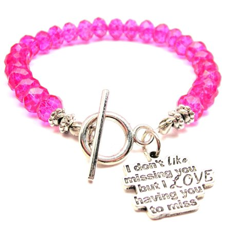 Chubby Chico Charms I Don't Like Missing You But I Love Having You To Miss Crystal Toggle Bracelet in Hot Pink - Hot Blue Bracelet Charms