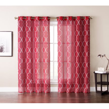 Single (1) Window Curtain Panels: Red Textured Sheer, White Embroidered Moroccan Trellis Design, Silver Grommets, 55
