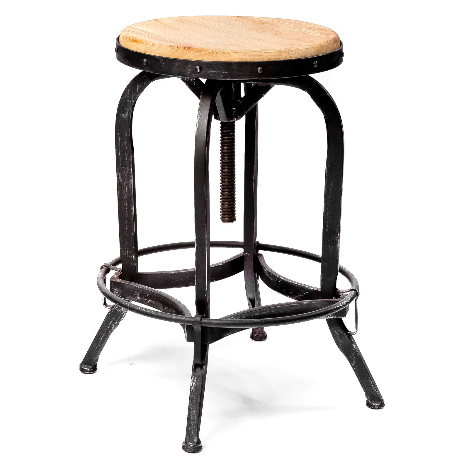 Weathered Oak Adjustable Bar Stool