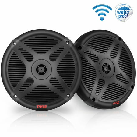 Pyle PLMRF65MB - Dual 6.5'' Waterproof-Rated Bluetooth Marine Speakers, 2-Way Coaxial Full Range Amplified Speaker System with Wireless RF Streaming (600