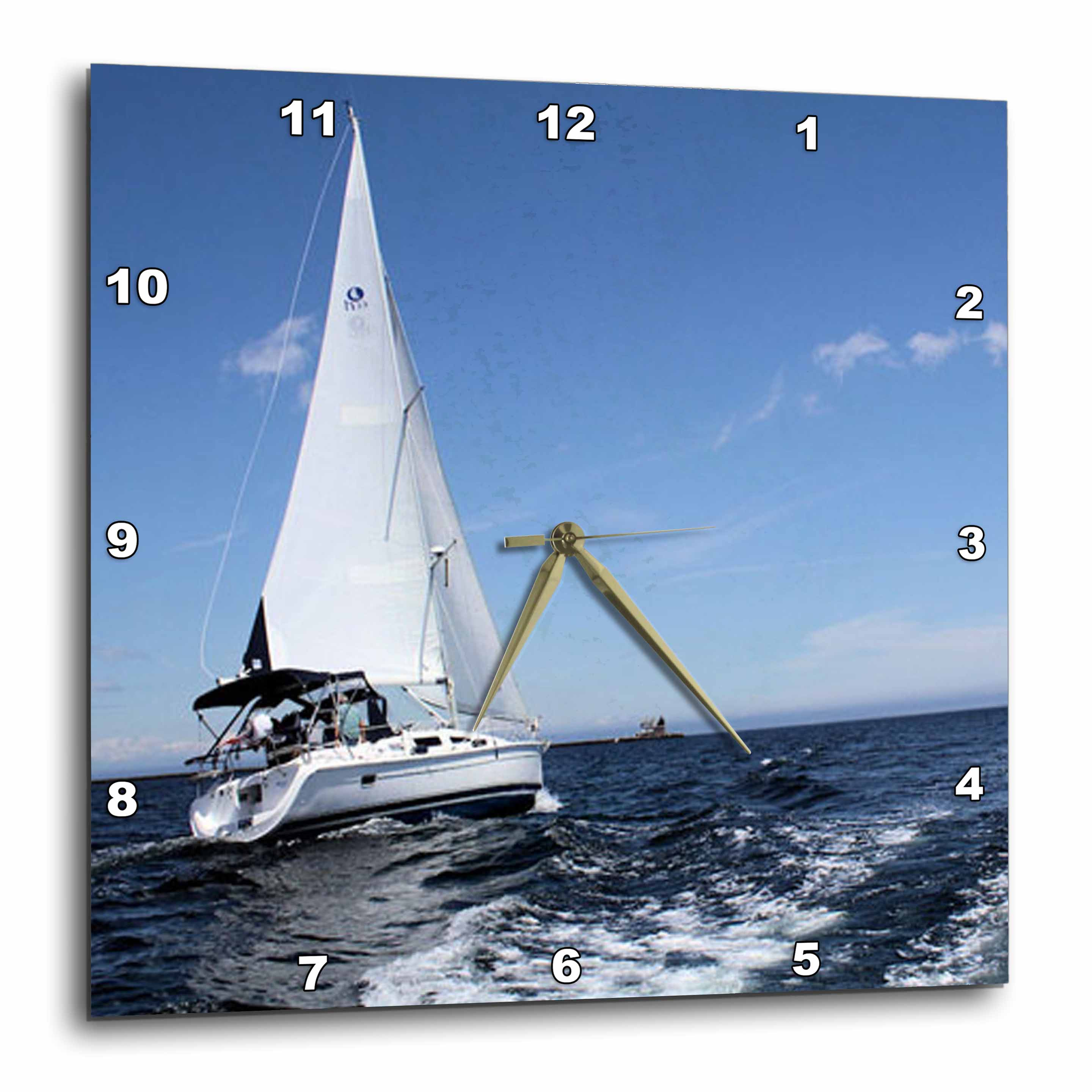 3dRose Sailing on the Ocean, Wall Clock, 10 by 10-inch