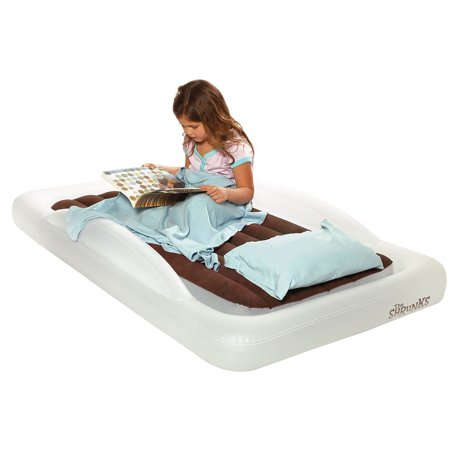 The Shrunks Toddler Travel Bed Portable Inflatable Air Mattress Blow Up Bed for Travel, Camp or Home Use, Kids Size with Security Bed Rails 60 x 37 x 9 inches