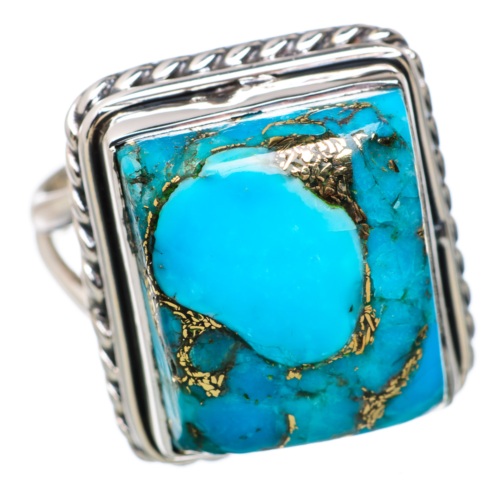 Ana Silver Co Blue Copper Composite Turquoise 925 Sterling Silver Ring Size 7.75 RING821343