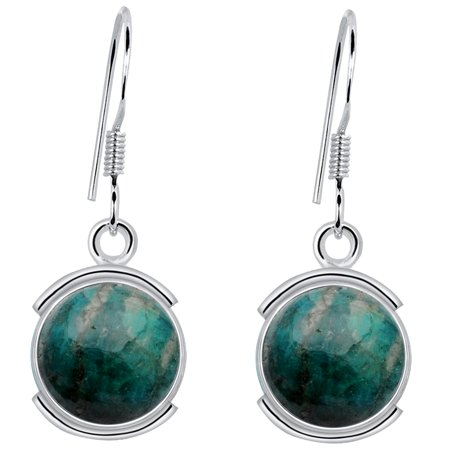 (Orchid Jewelry 925 Sterling Silver 8 Carat Amazonite Round Dangle Earrings)