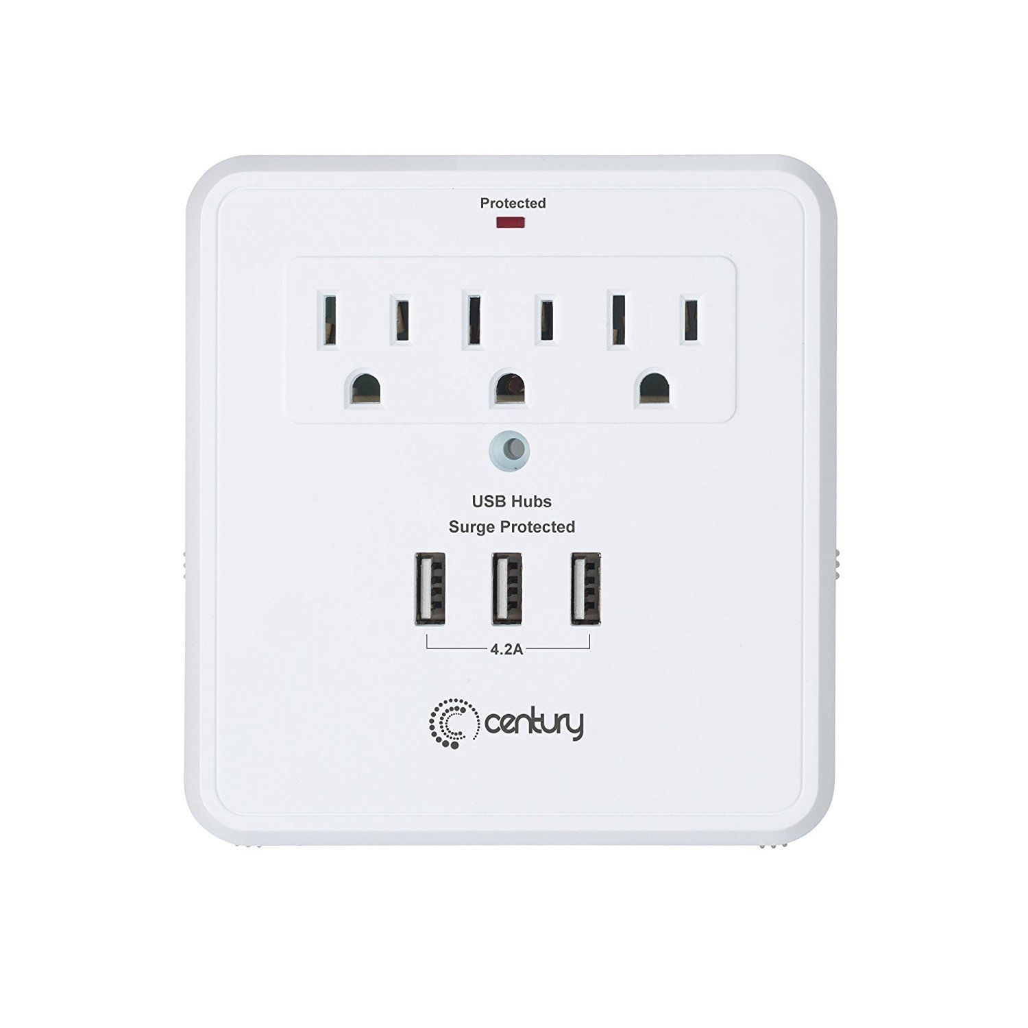 Century 3 Outlet Wall Mount Surge Protector Adapter with 3 USB Charging Ports (4.2A) White by Century