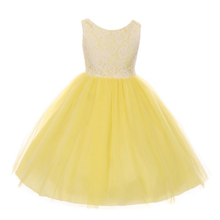 Kids Dream Little Girls Yellow Lace Tulle Sleeveless Easter Dress 6