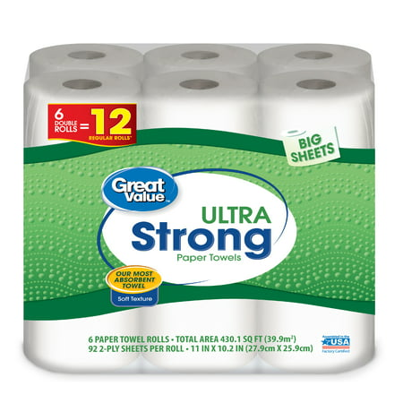 Great Value Ultra Strong Paper Towels, Big Sheets, 6 Double -