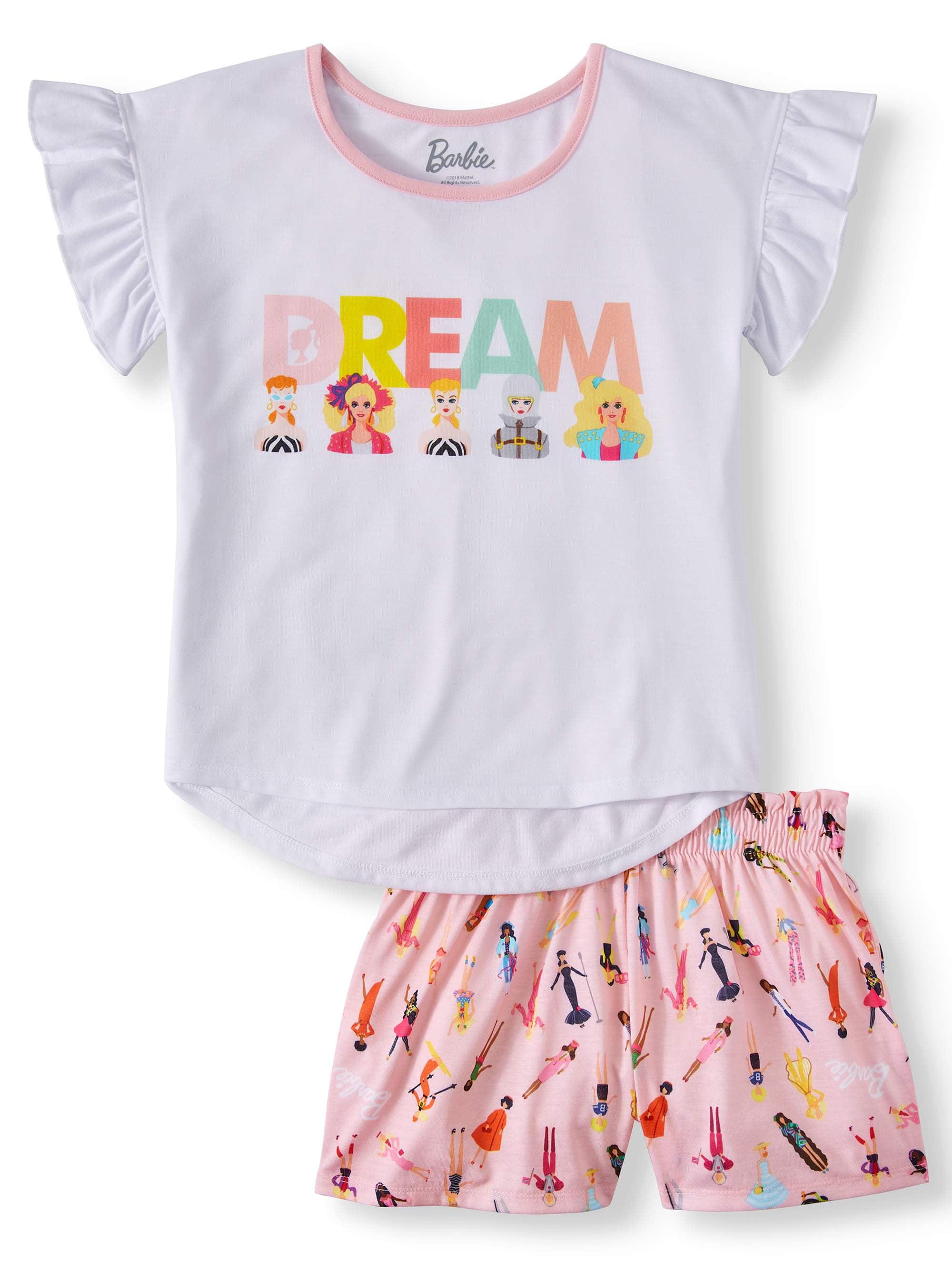Girls' Barbie Dream 2 Piece Pajama Short Set (Little Girl & Big Girl)