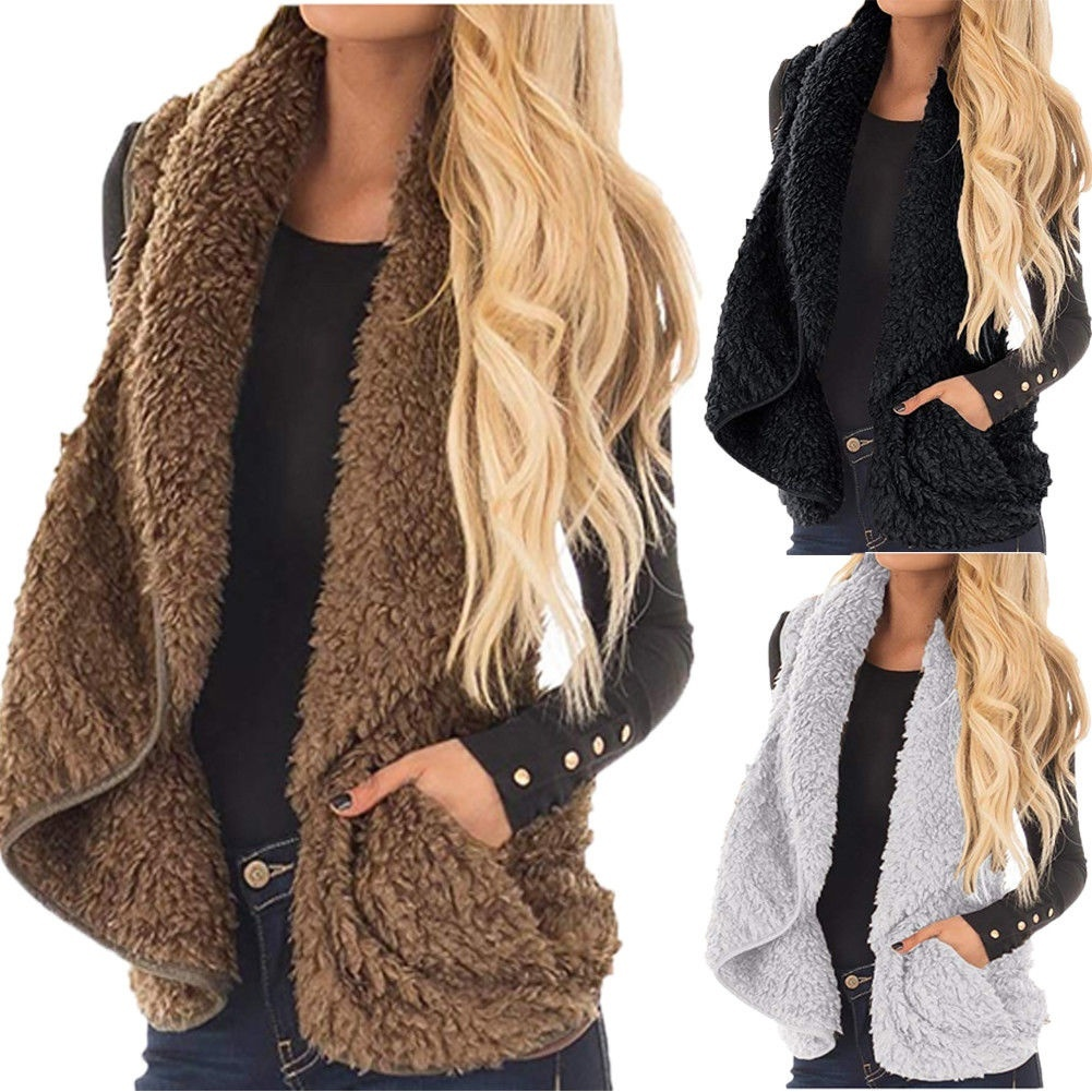 Winter Warm Coat Women Open Vest Tunic Top Shawl Collar Draped Sleeveless Cardigan S M L XL