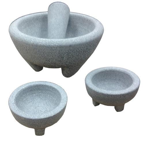 IMUSA GKA-61019 Granite Molcajete Guacamole Set 4-Piece, Grey