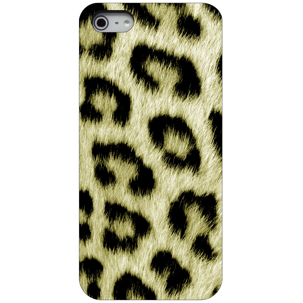 CUSTOM Black Hard Plastic Snap-On Case for Apple iPhone 5 / 5S / SE - Yellow Black Leopard Fur Skin