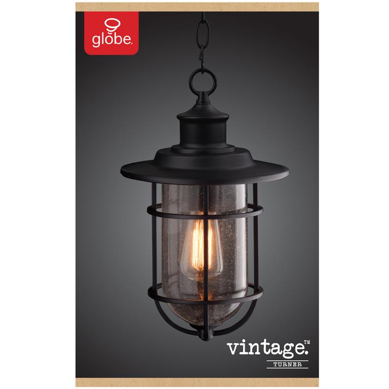 Globe Electric Vintage Turner Black, Globe Electric Outdoor Pendant Light