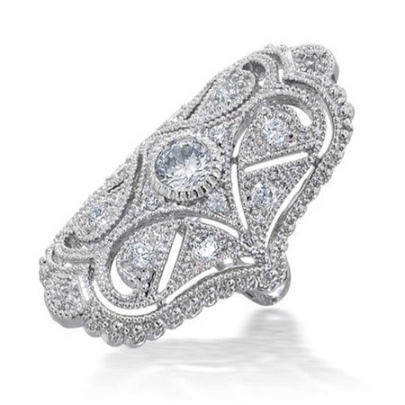 Deco Antique Style Filigree Pave CZ Wide Armor Full Finger Fashion Statement Ring Cubic Zirconia Rhodium Plated Brass