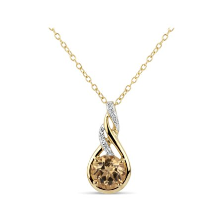 Honey Yellow Topaz and Round White Topaz Swarovski Genuine Gemstone 18kt Gold Over Sterling Silver Swirl Pendant, 18""