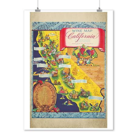 Wine Map of California Vintage Poster (artist: Taylor) USA c. 1950 (9x12 Art Print, Wall Decor Travel Poster) (1950 Decor)
