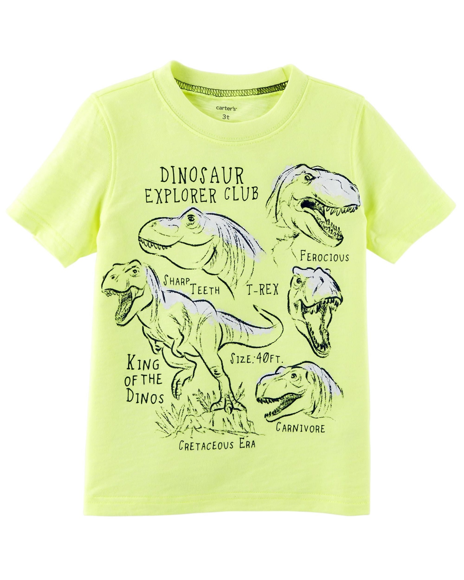 Carter's Little Boys' Neon Dinosaur Explorer Slub Jersey Tee, 2-Toddler