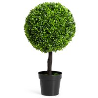 "Costway 24"" Artificial Boxwood Topiary Ball Tree In/Outdoor Home Decorative Planter"