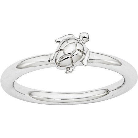 Sterling Silver Rhodium Turtle Ring for $<!---->