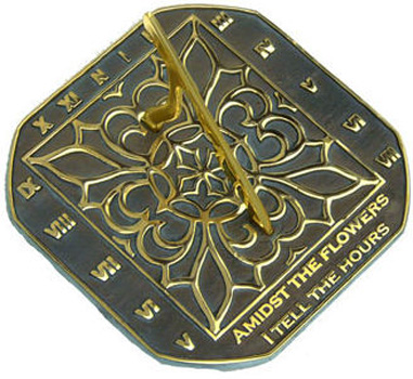 Rome Rome Romanesque Sundial Solid Brass with Verdigris Highlights by