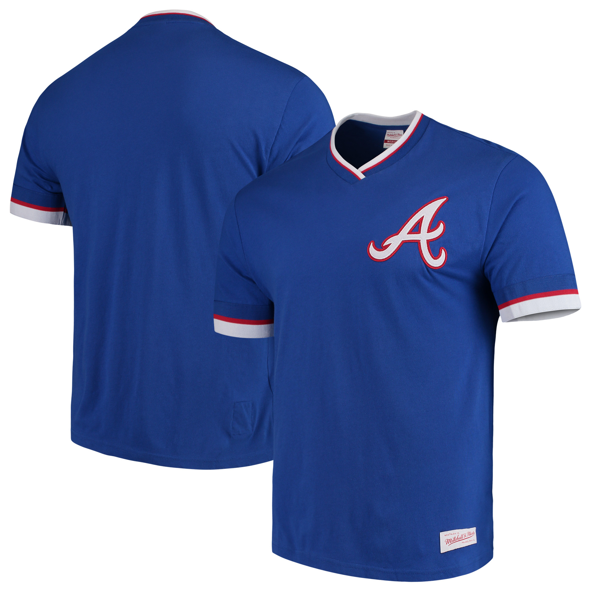 Atlanta Braves Mitchell & Ness Overtime Win Vintage Tee 2.0 V-Neck T-Shirt - Royal