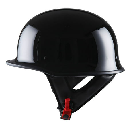 1Storm Novelty Motorcycle Helmet Half Face German Style DOT Approved: HKY602 Glossy Black