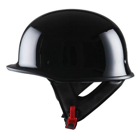 1Storm Novelty Motorcycle Helmet Half Face German Style DOT Approved: HKY602 Glossy Black Dot Approved German Helmet