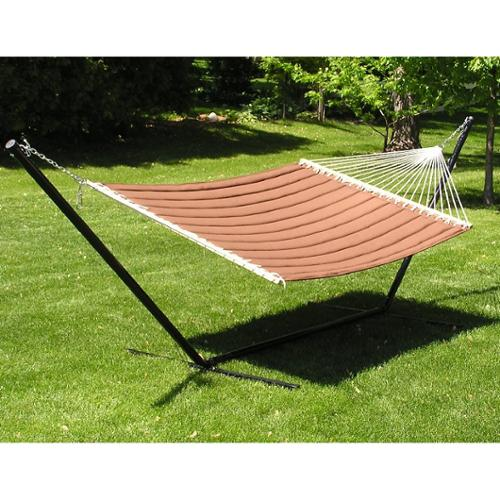 Styled Shopping Inc Grand Quilted Two-person Hammock and Stand Set - Brown