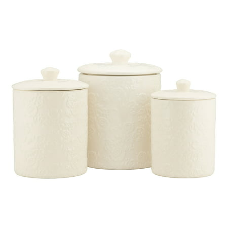 10 Strawberry Street Rose Embossed 3 Piece Ceramic Canister Set, White ()