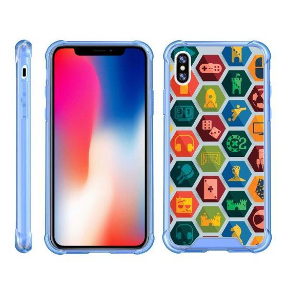 competitive price de4e5 dc138 TurtleArmor ® | For Apple iPhone X | Apple iPhone 10 [Clear Bumper Case]  Fitted Ultra Slim TPU Case with Smoked Edges- Blue Tron Target