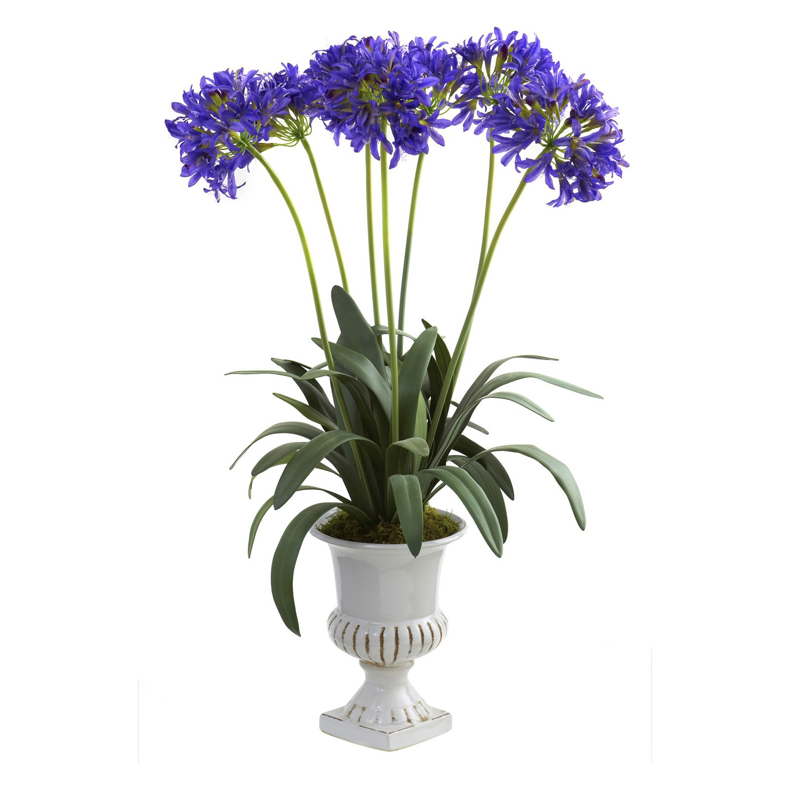 Nearly Natural African Lily with Urn, Purple