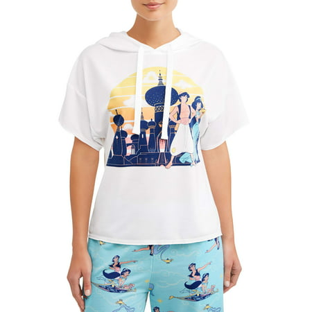 Disney Women's and Women's Plus License Hooded Top Aladdin - Disney Luxe Pajamas