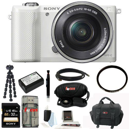 Sony Alpha a5000 SLR Camera w/ UV Protector & 32GB SDHC Acc Bundle (