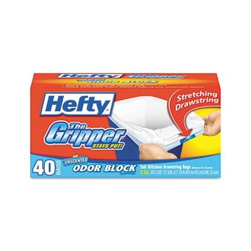 Hefty The Gripper Tall Kitchen Bags, Drawstring, 13 Gal, .9mil, White PACE82849