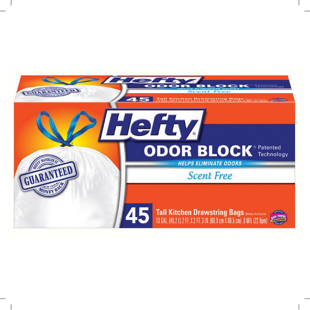 Hefty CinchSak Tall Drawstring 13 Gallon Kitchen Bags, 45 ct