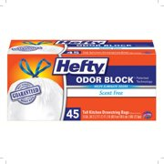 Hefty Tall Kitchen Drawstring Bags, Odor Block Scent Free 13 Gallon 45 Ea (Pack of 4)