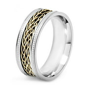 Coastal Jewelry Two Tone Stainless Steel Braided Inlay Band Ring