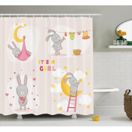 Kids Shower Curtain Set Bunny Rabbit Sleeping Doing Laundry Picking Stars Love Cartoon Art Cute