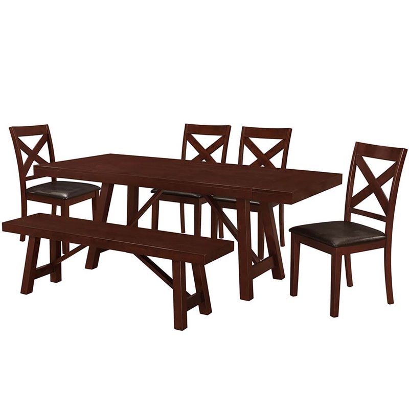 Walker Edison 6 Piece Solid Wood Trestle Dining Set in Es...