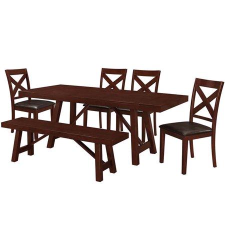 Excellent Walker Edison 6 Piece Solid Wood Trestle Dining Set In Espresso Creativecarmelina Interior Chair Design Creativecarmelinacom