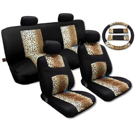Cool Fur Print Tan Leopard Black Knit Mesh Cool Breeze Animal Print Seat Cover Set Fits Honda Civic
