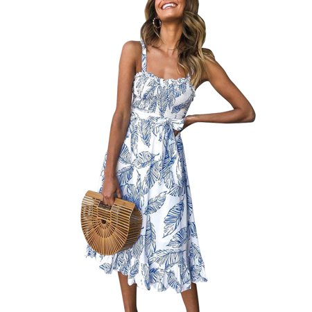 Pleated Shift Dress - Women's Summer Casual Cold Shoulder Spaghetti Strap Dress Floral Print Bohemian High waist Ruffled Pleated Swing Midi Dress Bowknot Beach Dresses