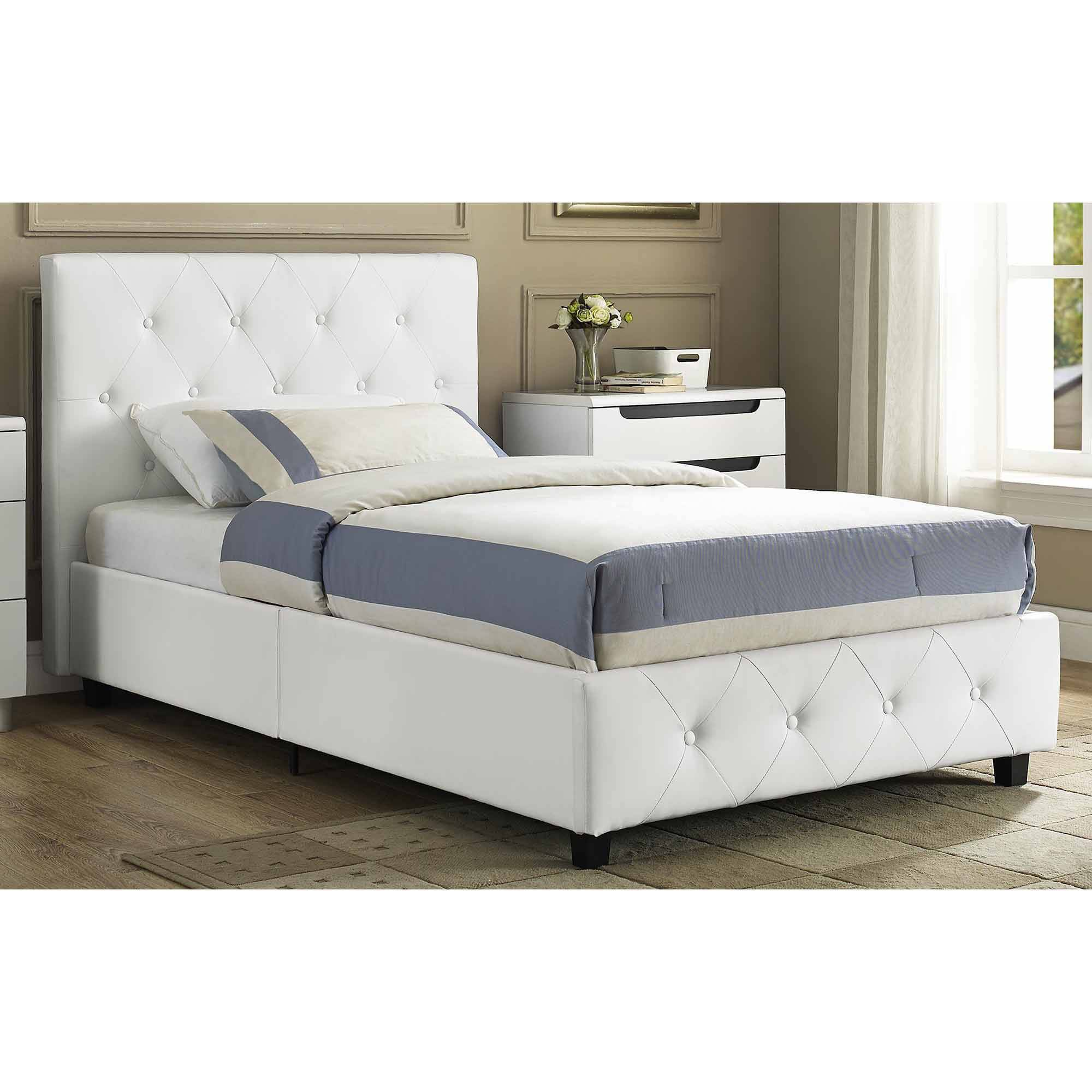 dakota faux leather upholstered bed white multiple sizes walmartcom