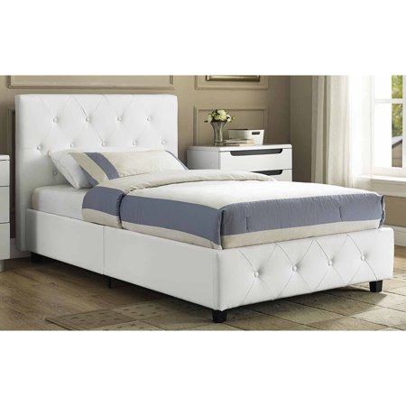 dakota faux leather upholstered bed white multiple sizes - Upholstered Bed Frame