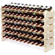 SUNCROWN 66 Bottle Stackable Modular Wine Rack Large Wine Storage Rack Free Standing Solid Natural Wood Wine Holder Display Shelves, Wobble-Free (Six-Tier, 66 Bottle Capacity)