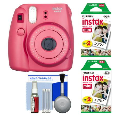 Fujifilm Instax Mini 8 Instant Film Camera (Raspberry) with 40 Instant Film + Cleaning Kit