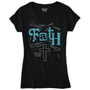 Jesus Christ Faith Christian Shirt God Savior Hope Love Gift Junior V-Neck Tee